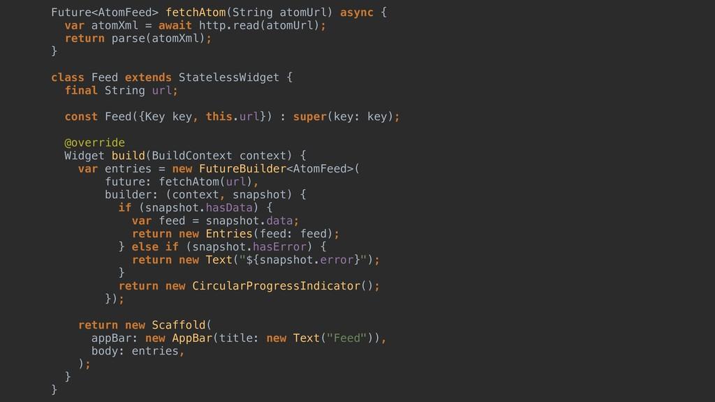Future<AtomFeed> fetchAtom(String atomUrl) asyn...