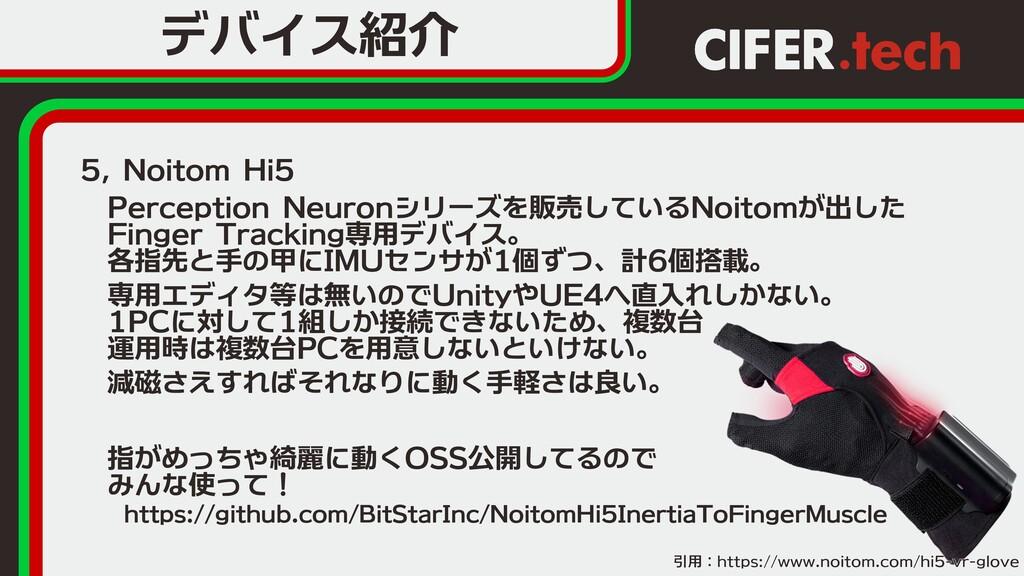 デバイス紹介 5, Noitom Hi5  Perception Neuronシリーズを販売し...