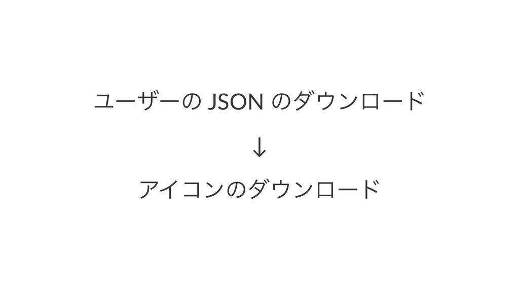 Ϣʔβʔͷ JSON ͷμϯϩʔυ ↓ ΞΠίϯͷμϯϩʔυ