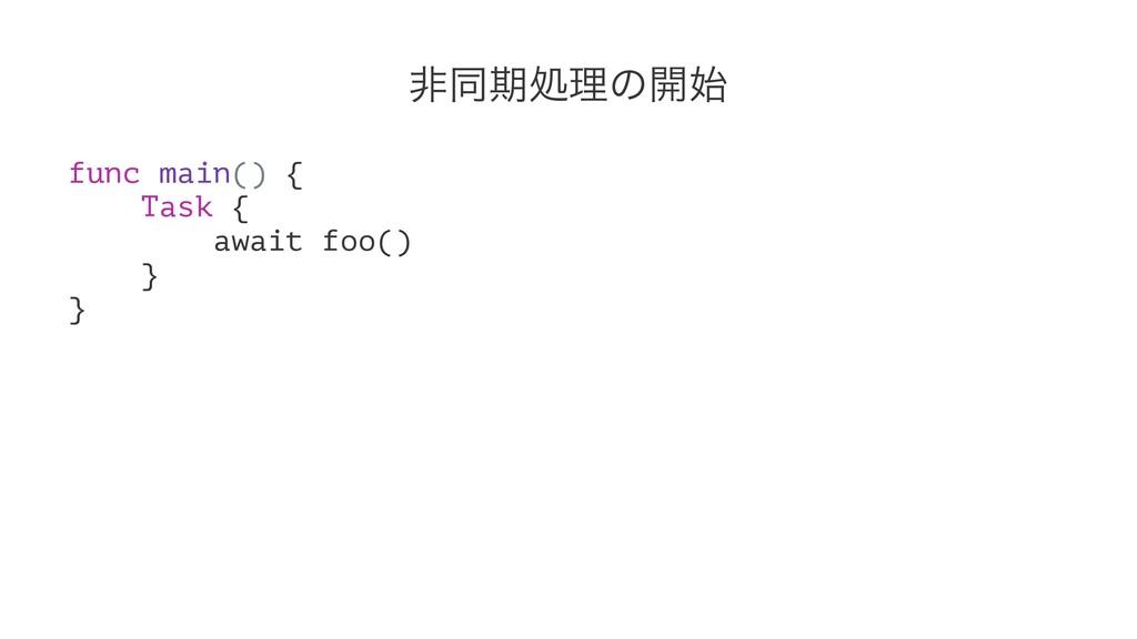 ඇಉظॲཧͷ։ func main() { Task { await foo() } }