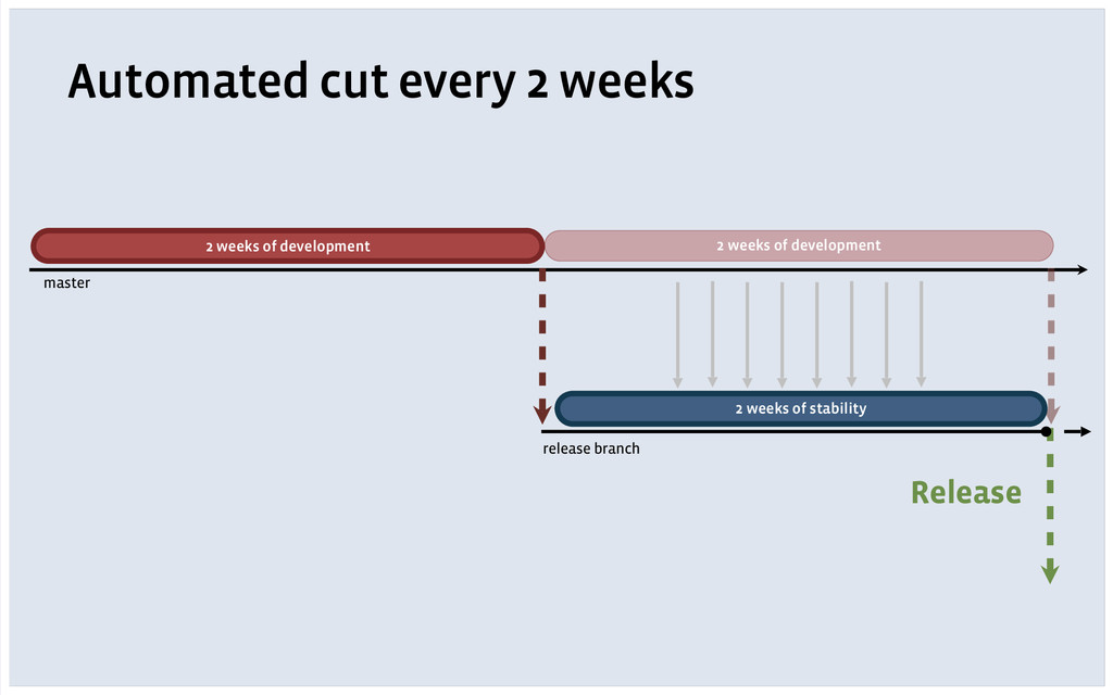 Automated cut every 2 weeks 2 weeks of developm...