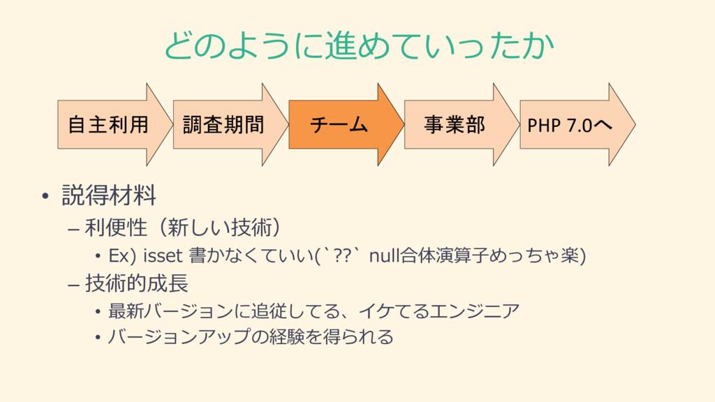 どのように進めていったか 調査期間 自主利用 チーム 事業部 PHP 7.0へ • 説得材料 ...