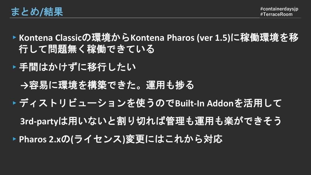 ▸Kontena Classicの環境からKontena Pharos (ver 1.5)に稼...