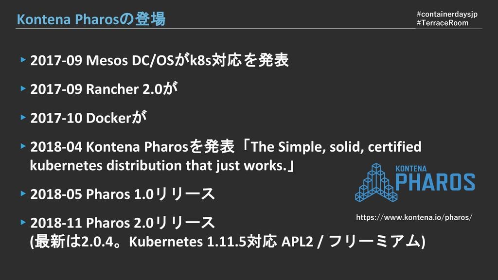 ▸2017-09 Mesos DC/OSがk8s対応を発表 ▸2017-09 Rancher ...