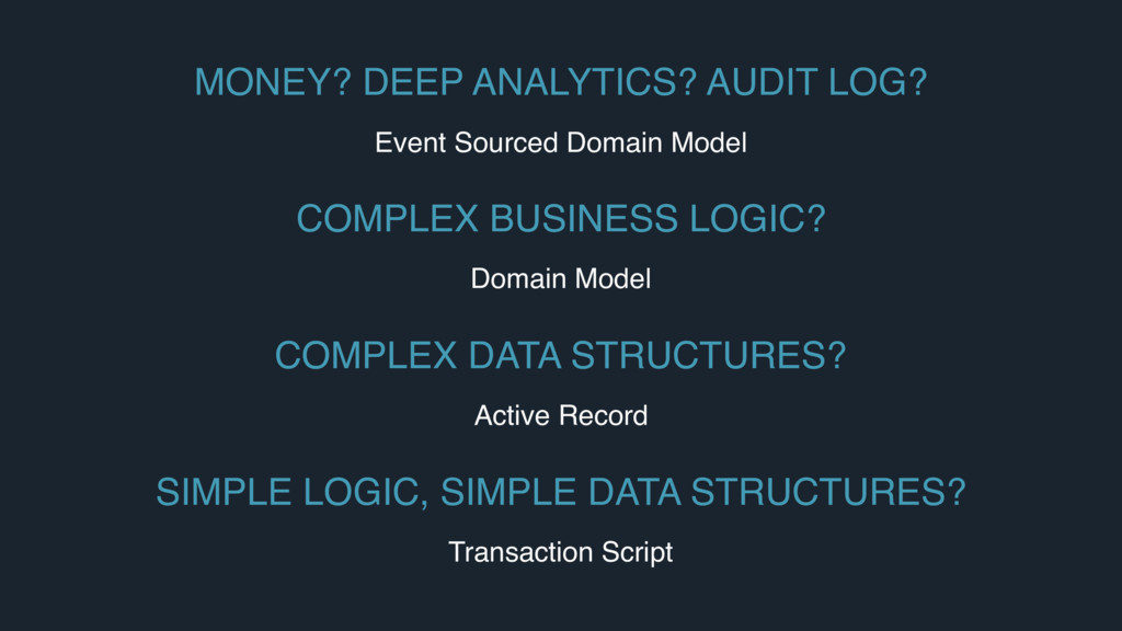 MONEY? DEEP ANALYTICS? AUDIT LOG? Event Sourced...