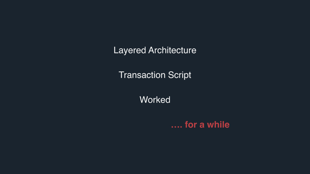 Layered Architecture Transaction Script Worked ...