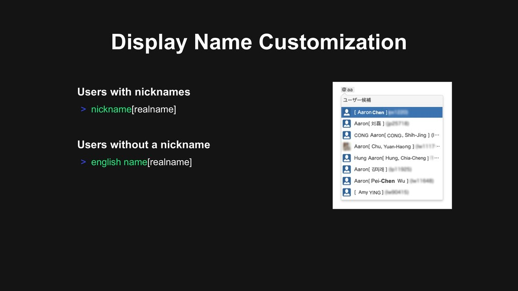 Users with nicknames > nickname[realname] Displ...