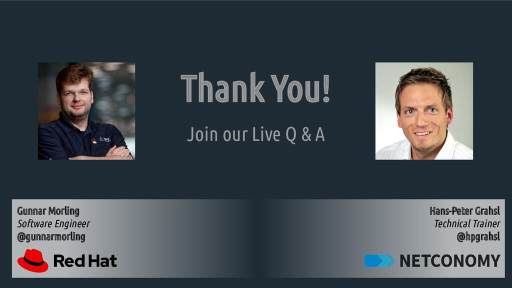 Thank You! Join our Live Q & A Hans-Peter Grahs...