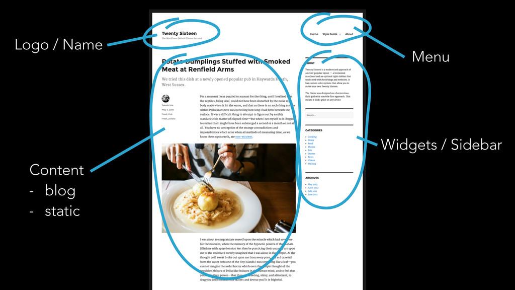 Logo / Name Menu Content - blog - static Widget...