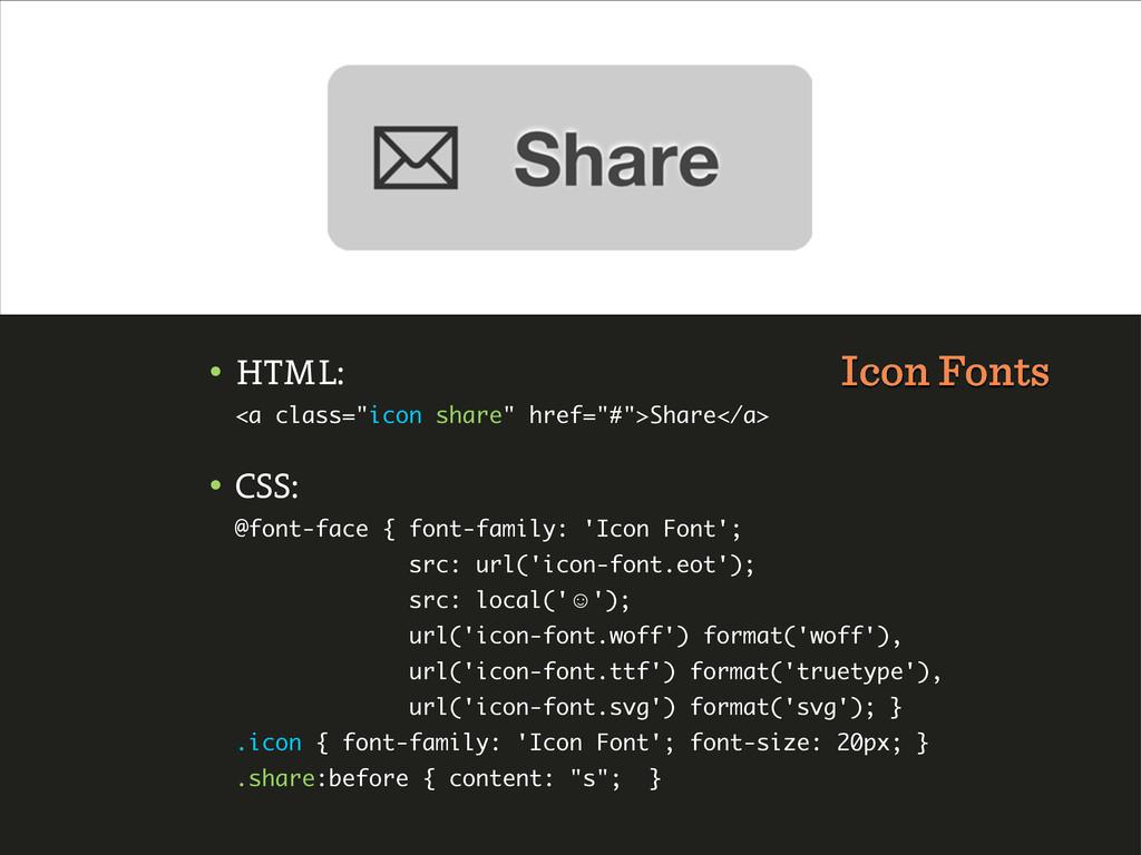 "• HTML: <a class=""icon share"" href=""#"">Share</a..."