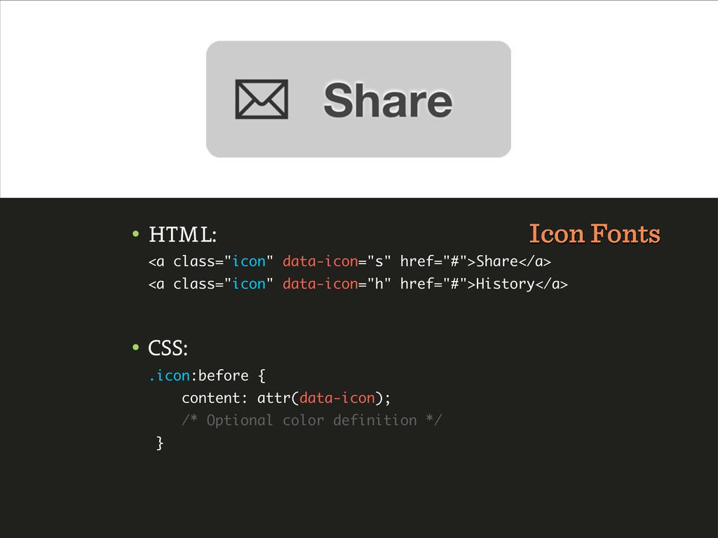 """• HTML: <a class=""""icon"""" data-icon=""""s"""" href=""""#"""">..."""