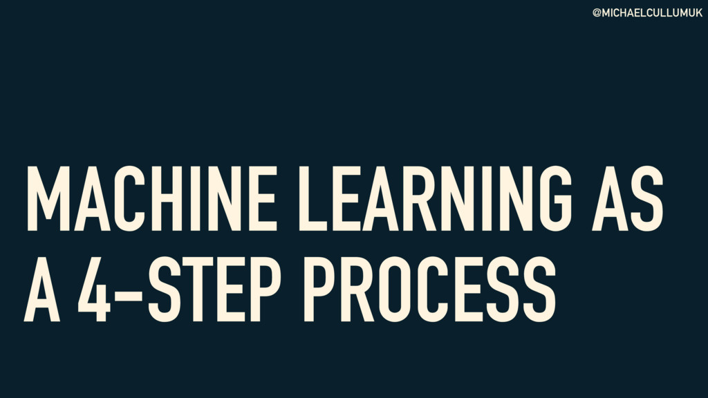 @MICHAELCULLUMUK MACHINE LEARNING AS A 4-STEP P...