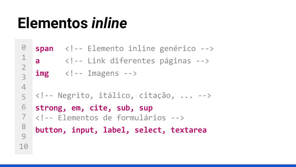 0 1 2 3 4 5 6 7 8 9 10 Elementos inline span <!...