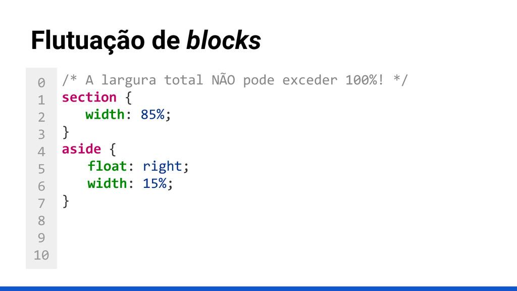 0 1 2 3 4 5 6 7 8 9 10 Flutuação de blocks /* A...