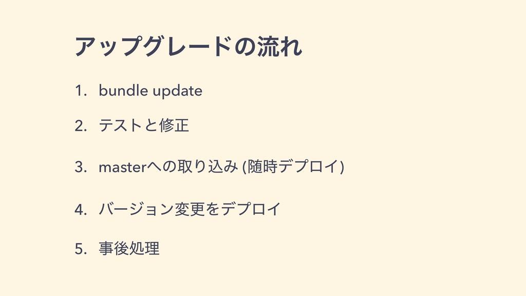 ΞοϓάϨʔυͷྲྀΕ 1. bundle update 2. ςετͱमਖ਼ 3. master...
