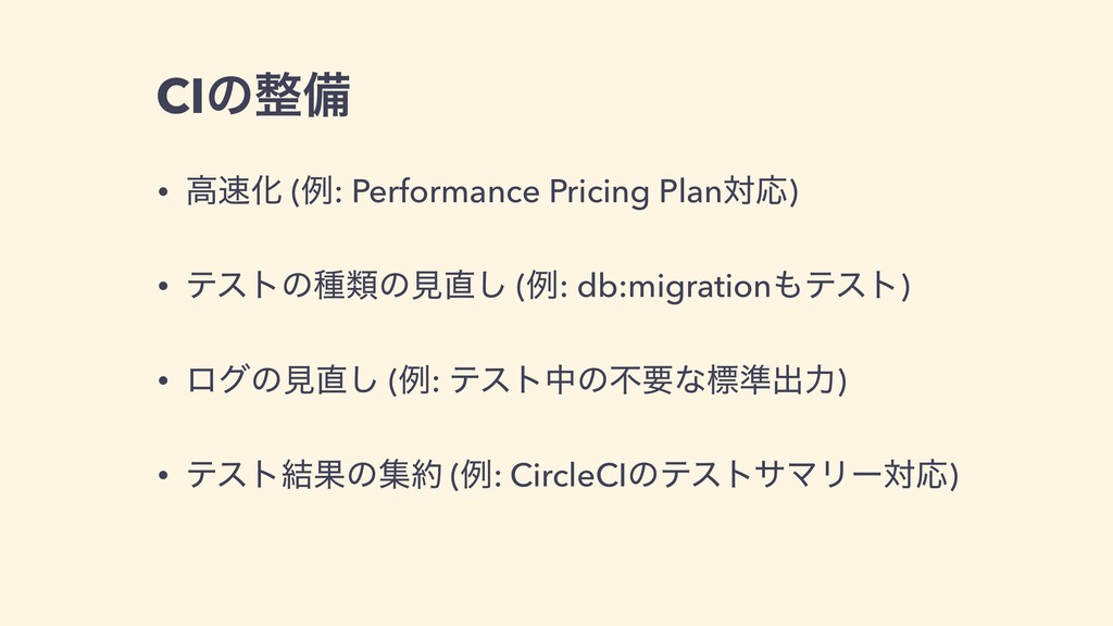 CIͷ੔උ • ߴ଎Խ (ྫ: Performance Pricing PlanରԠ) • ς...