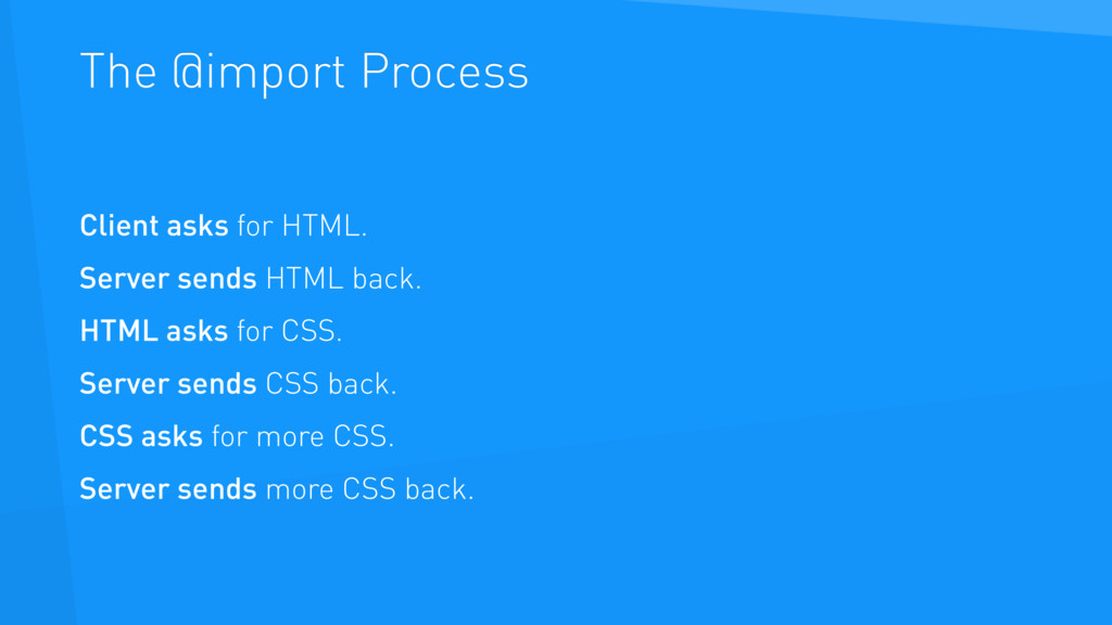 The @import Process Client asks for HTML. Serve...