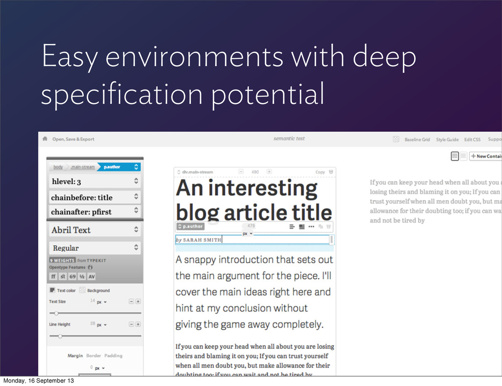 Easy environments with deep specification potent...