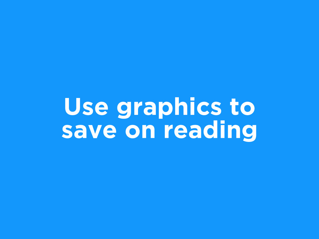 Use graphics to save on reading