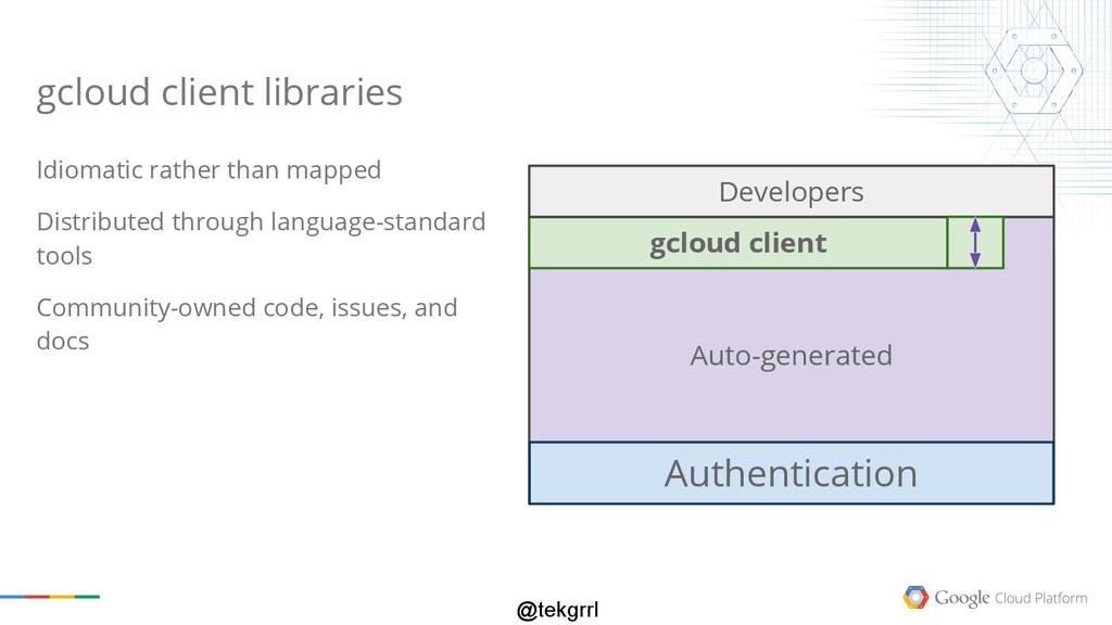 @tekgrrl gcloud client libraries Idiomatic rath...