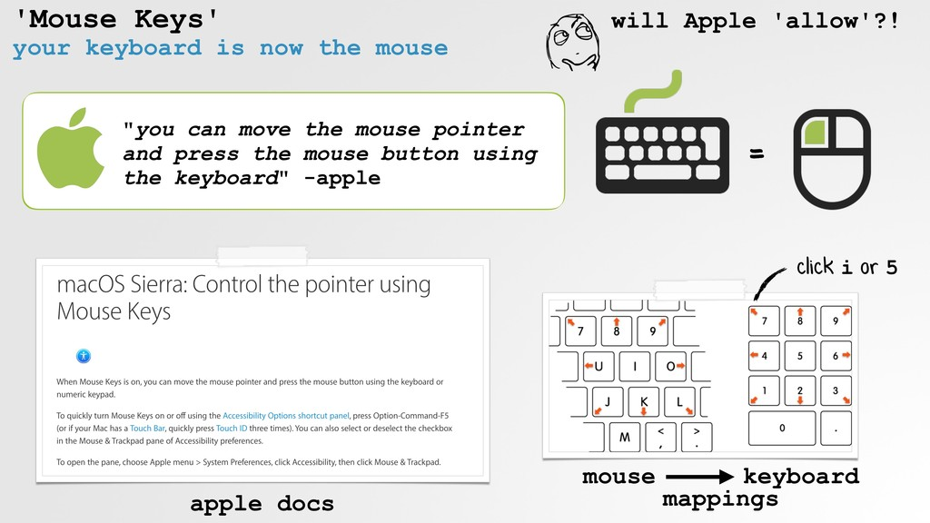 "'Mouse Keys' your keyboard is now the mouse ""yo..."