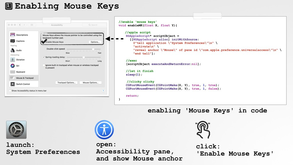 Enabling Mouse Keys //enable 'mouse keys' void ...