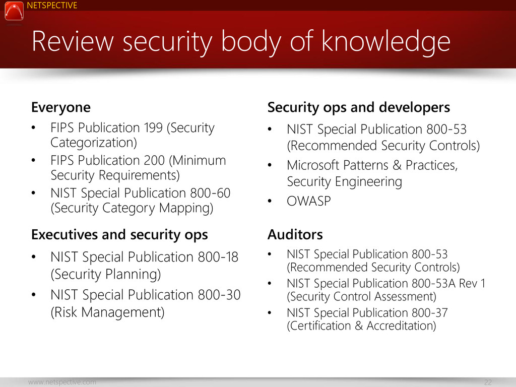 NETSPECTIVE www.netspective.com 22 Review secur...
