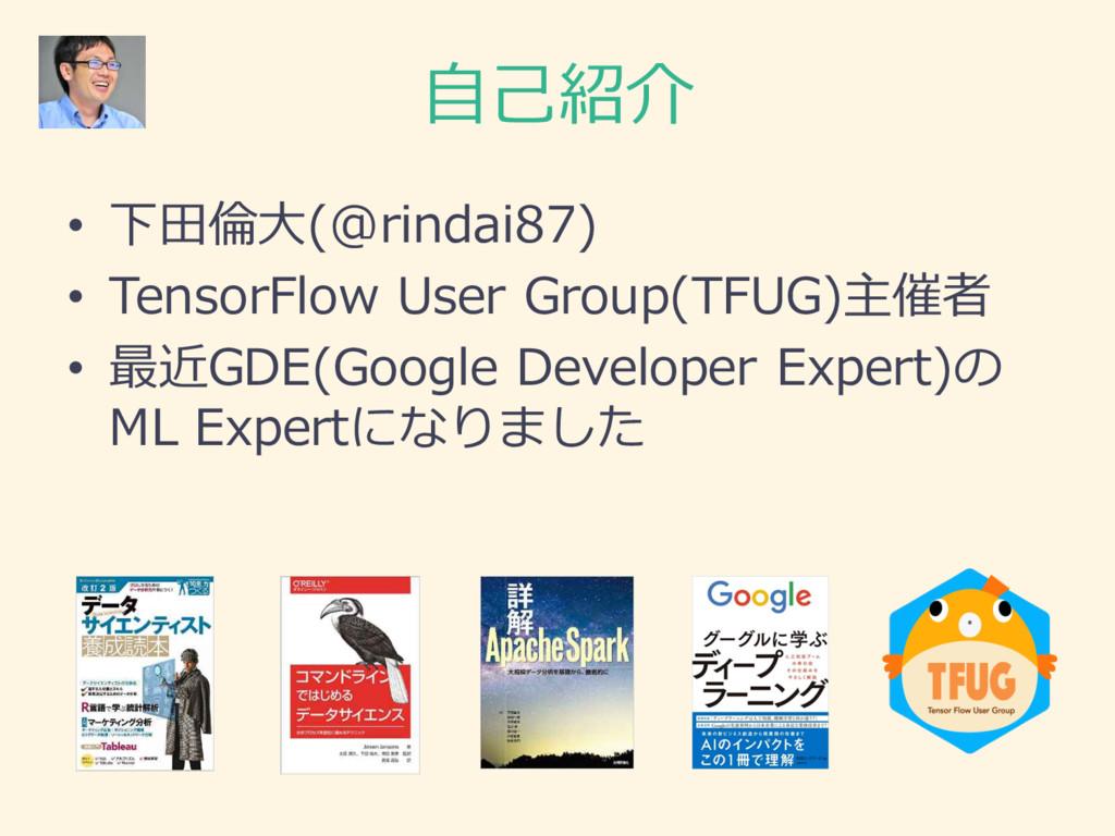 ⾃自⼰己紹介 • 下⽥田倫倫⼤大(@rindai87) • TensorFlow User ...