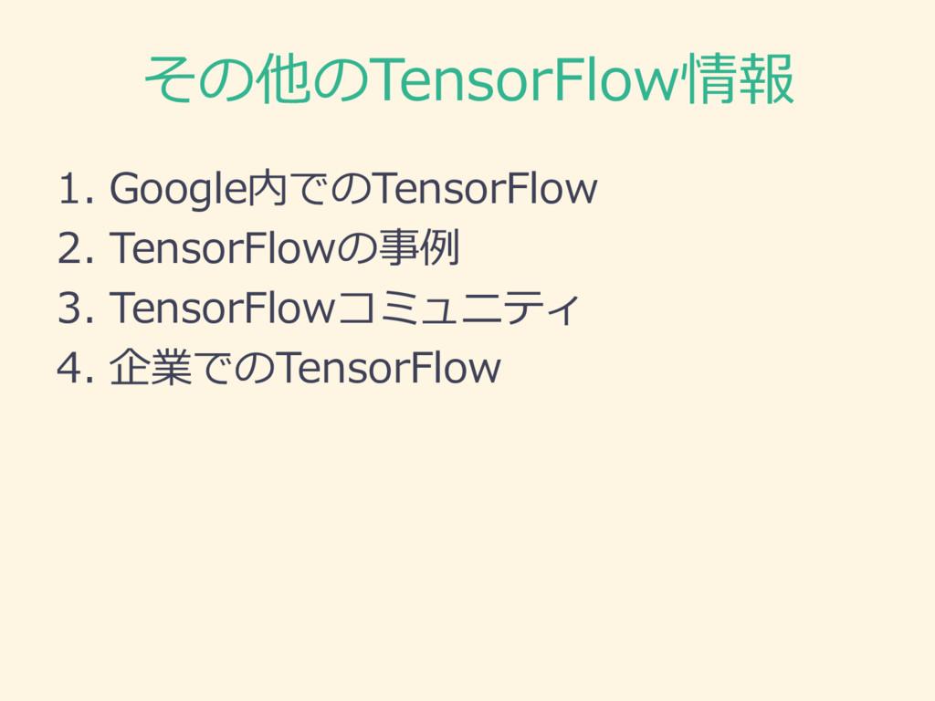 その他のTensorFlow情報 1. Google内でのTensorFlow 2. Tens...