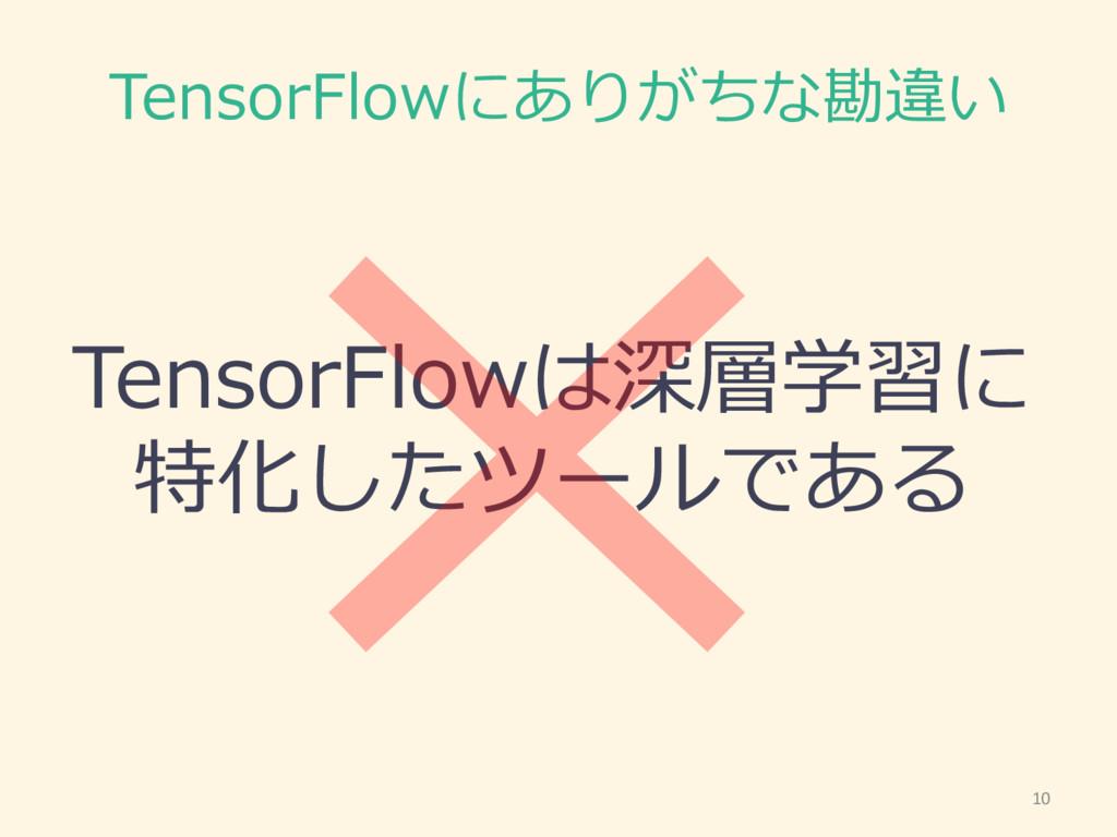 TensorFlowにありがちな勘違い TensorFlowは深層学習に 特化したツールである...