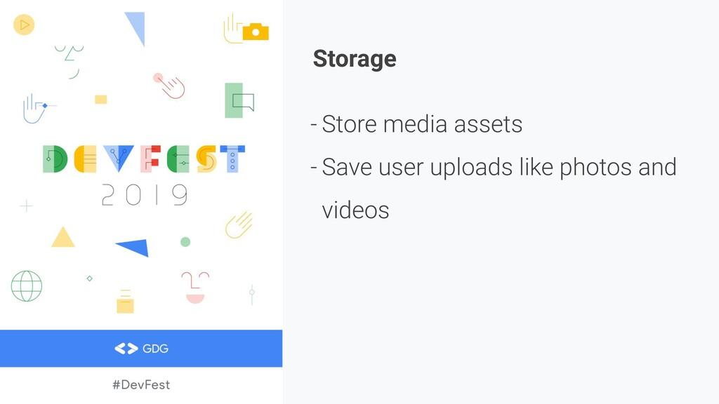 Storage - Store media assets - Save user upload...
