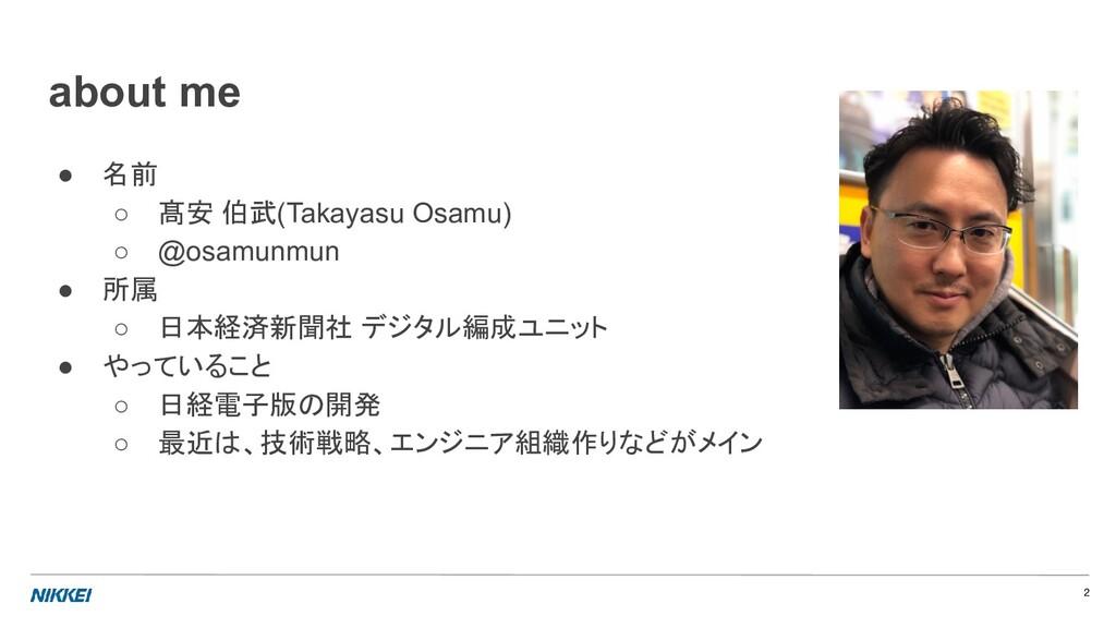 ● 名前 ○ 髙安 伯武(Takayasu Osamu) ○ @osamunmun ● 所属 ...