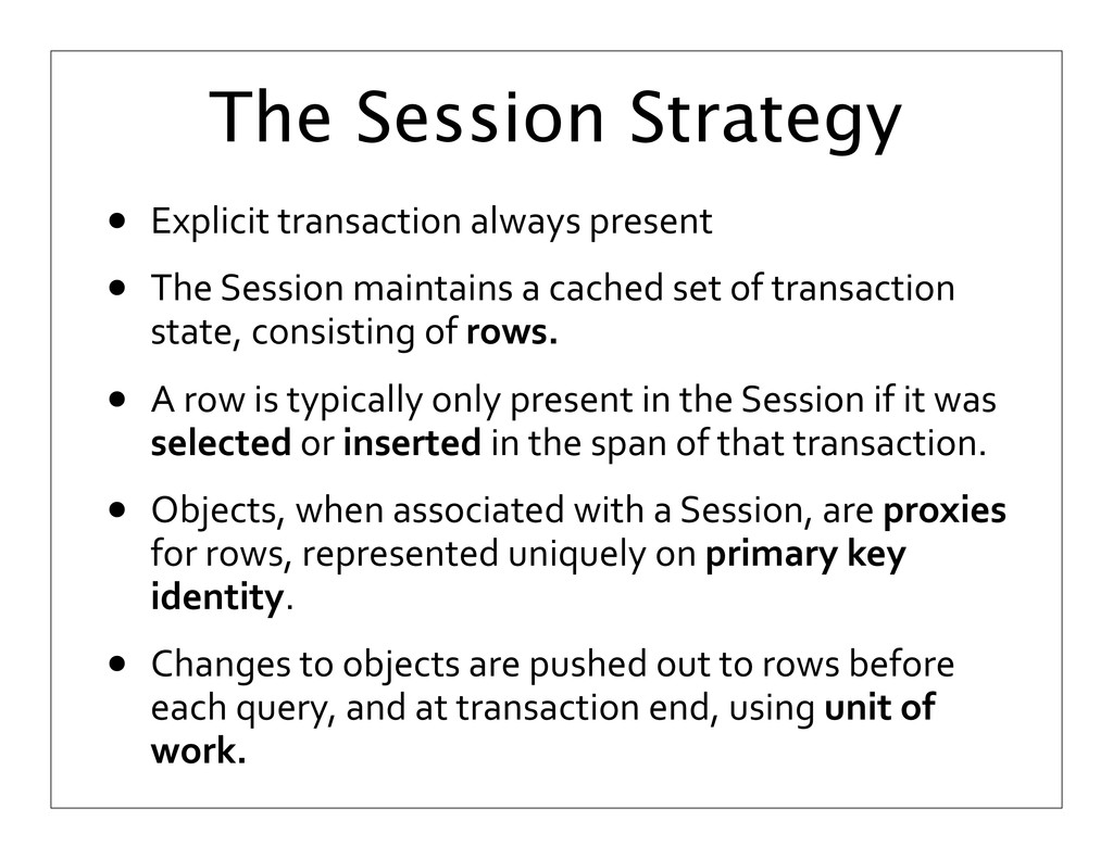 The Session Strategy • Explicit transaction...