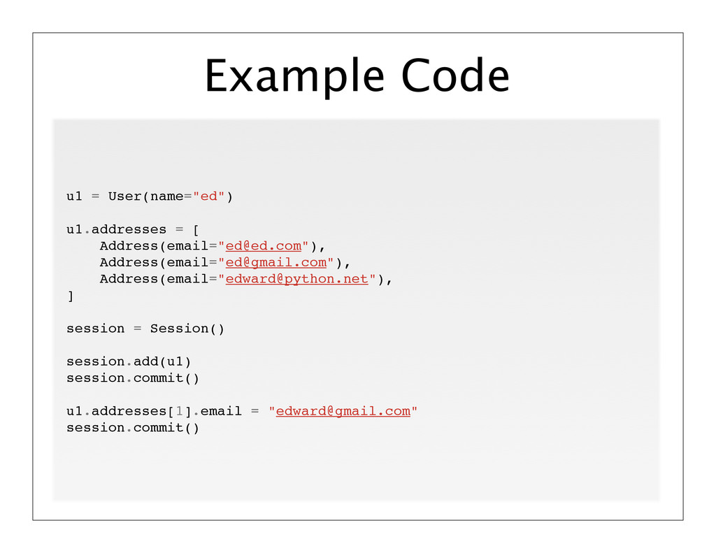 "Example Code u1 = User(name=""ed"") u1.addresses ..."