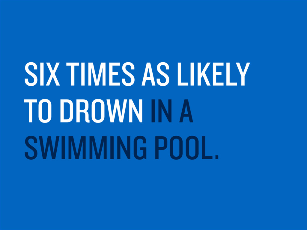 SIX TIMES AS LIKELY TO DROWN IN A SWIMMING POOL.