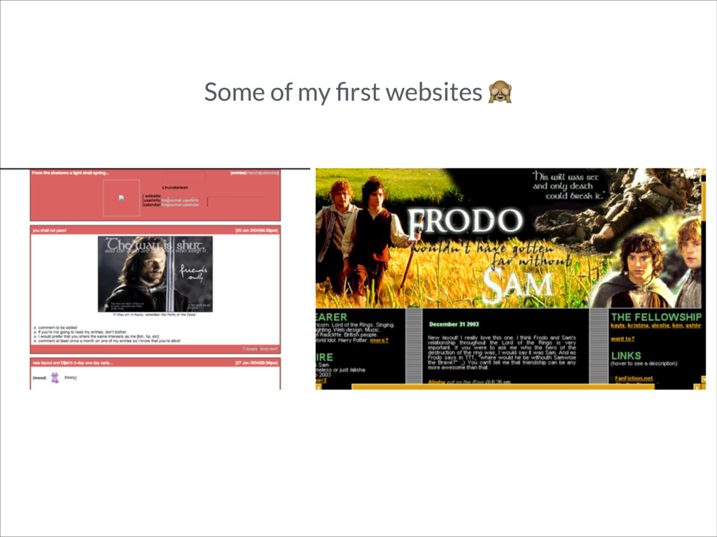 Some of my first websites