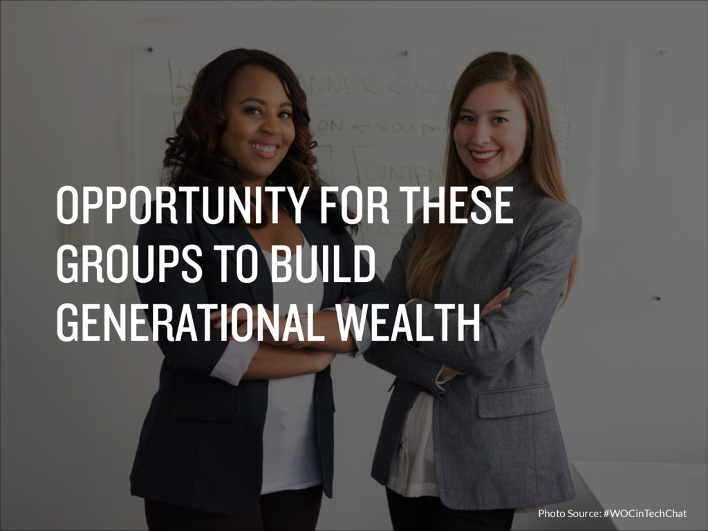 OPPORTUNITY FOR THESE GROUPS TO BUILD GENERATIO...