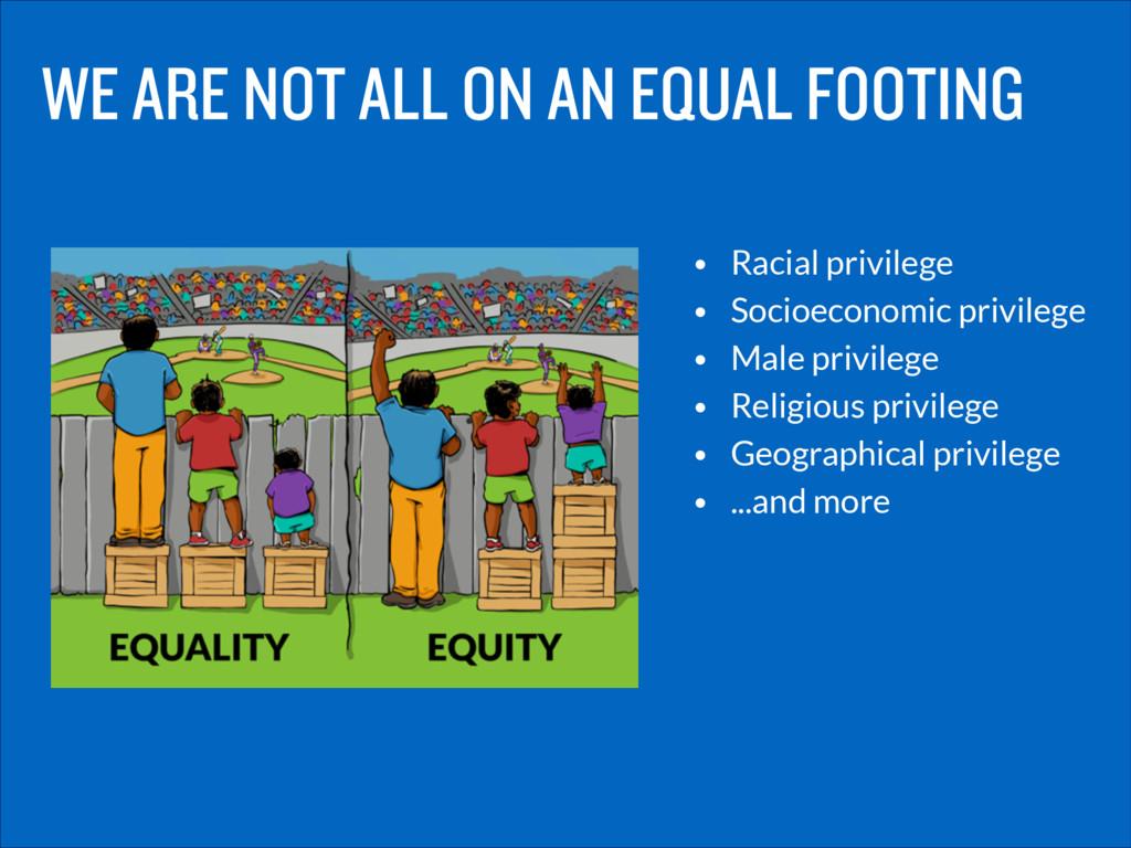 • Racial privilege • Socioeconomic privilege • ...