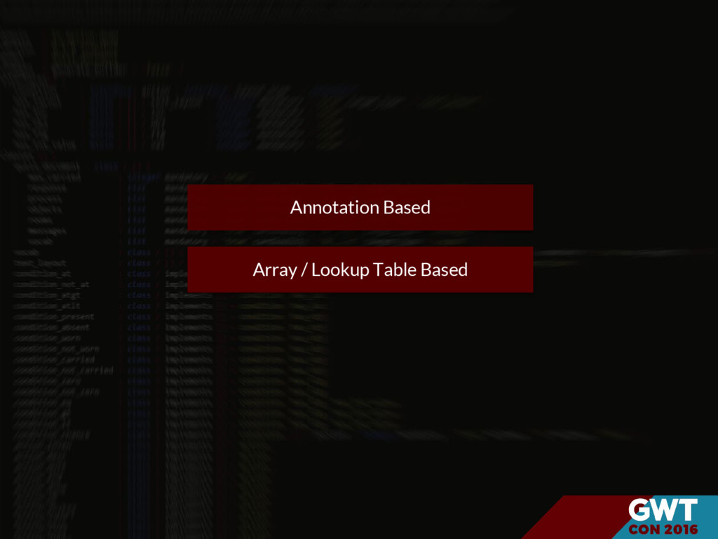 Array / Lookup Table Based Annotation Based