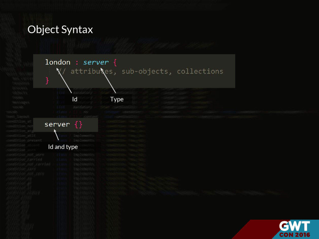 Object Syntax Id Type Id and type