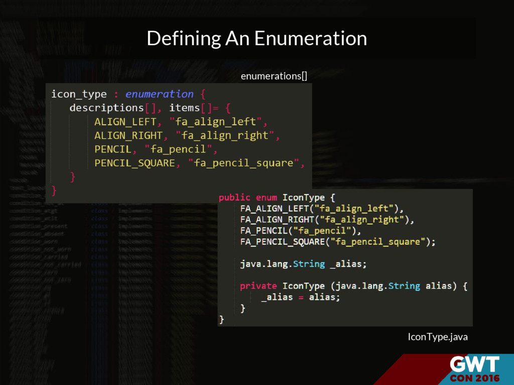 Defining An Enumeration enumerations[] IconType...