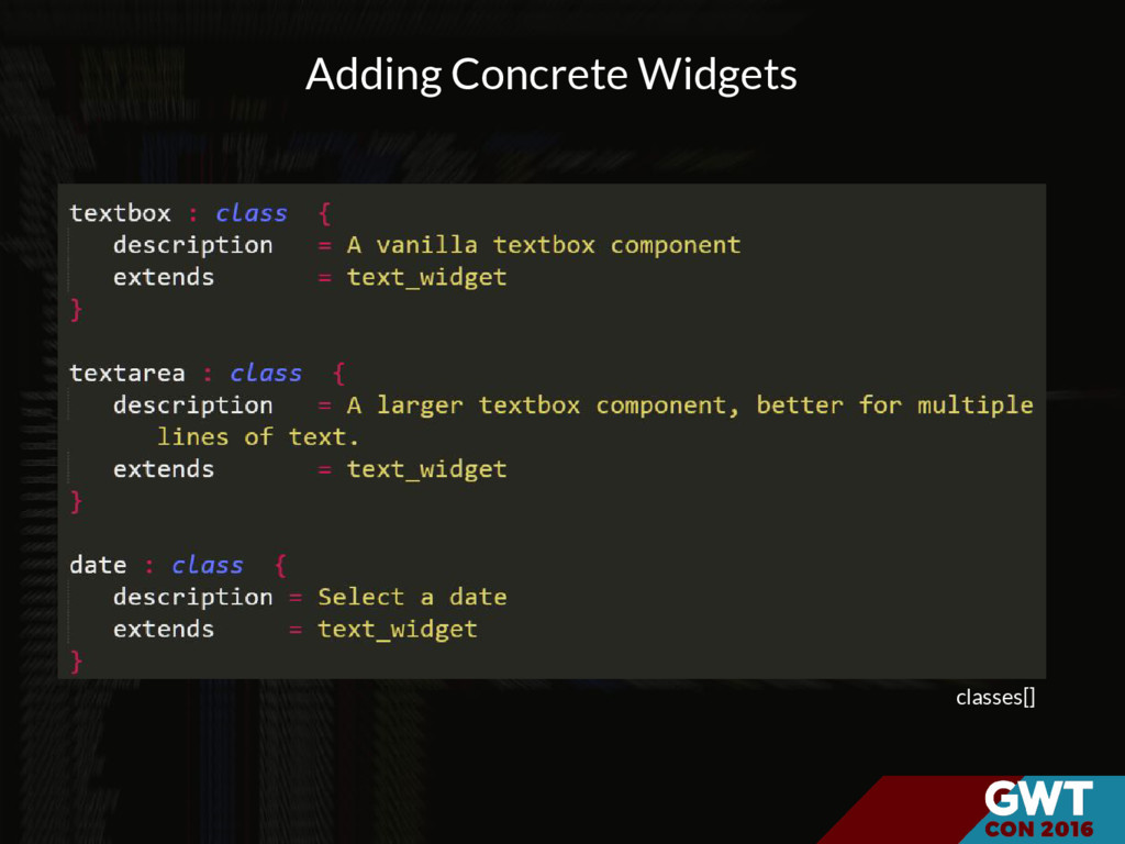 classes[] Adding Concrete Widgets