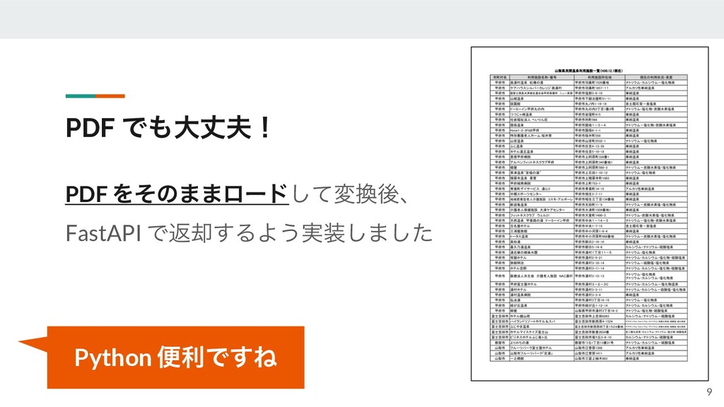 PDF Ͱେৎʂ PDF Λͦͷ··ϩʔυͯ͠มޙɺ FastAPI Ͱฦ٫͢ΔΑ͏࣮...