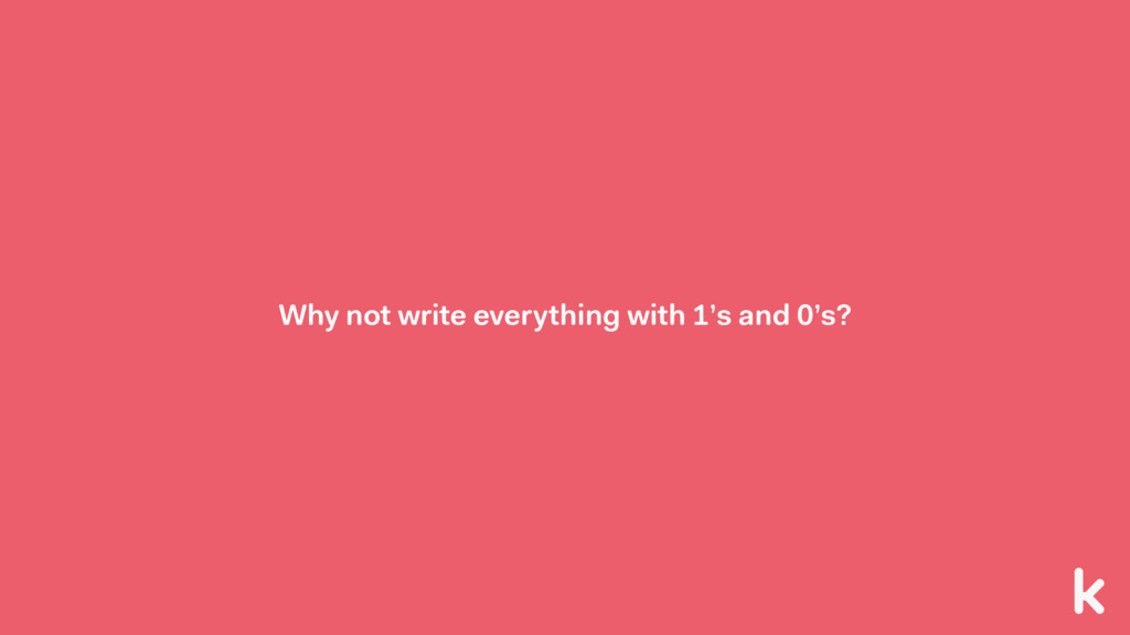 Why not write everything with 1's and 0's?
