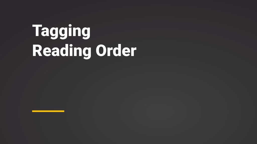 Tagging Reading Order