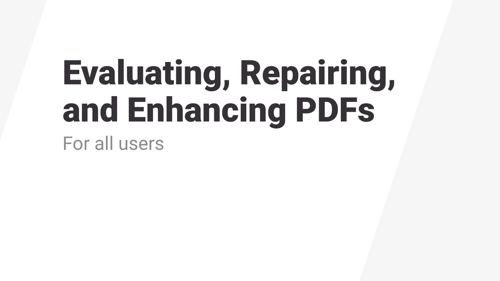 Evaluating, Repairing, 