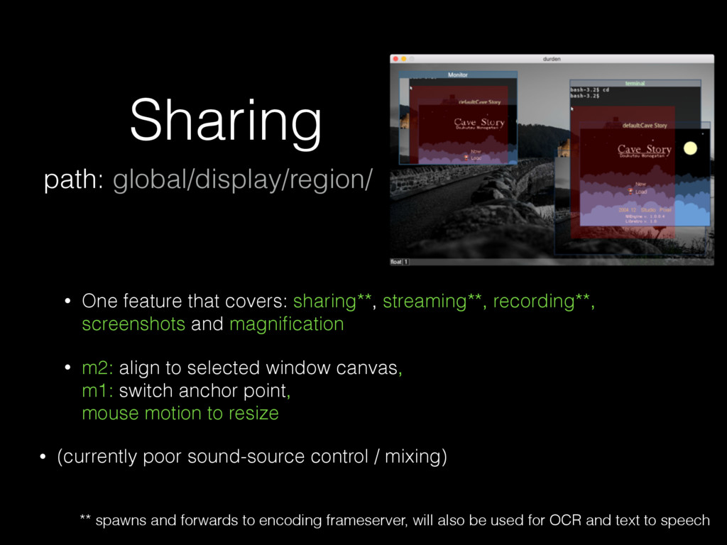 Sharing • One feature that covers: sharing**, s...