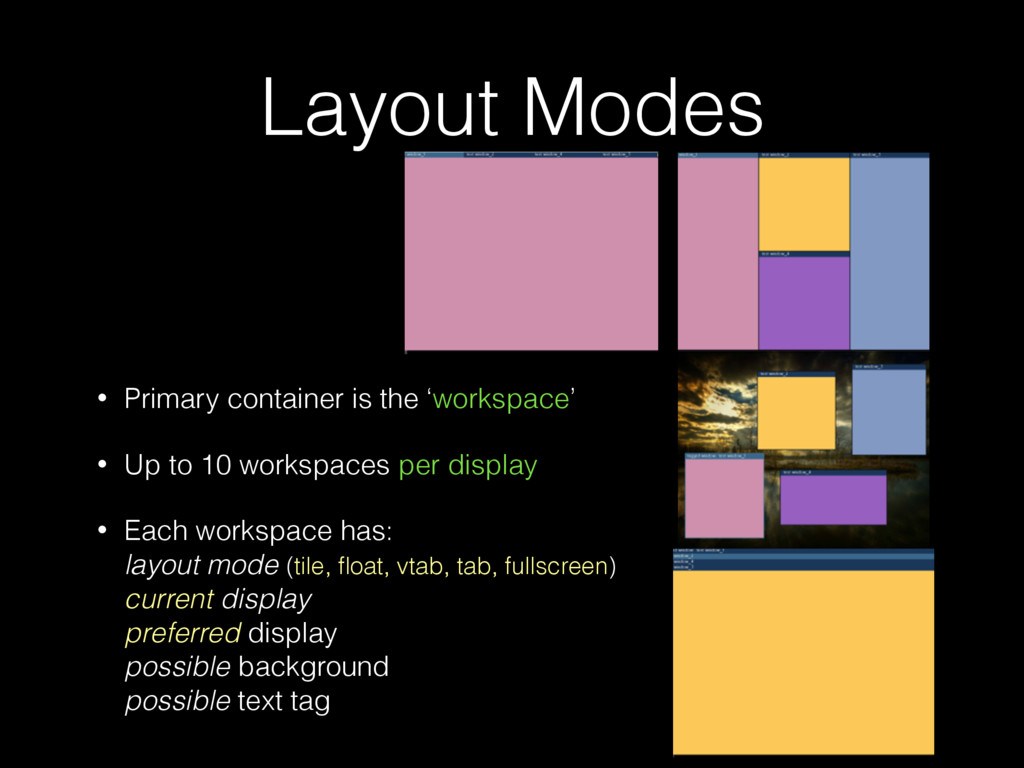 Layout Modes • Primary container is the 'worksp...