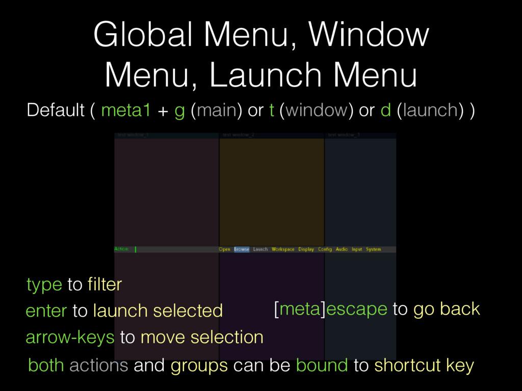 Global Menu, Window Menu, Launch Menu Default (...